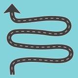 Windende weg met pijl vector illustratie