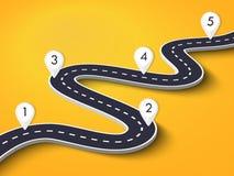 Windende weg op een kleurrijke achtergrond De plaats infographic malplaatje van de wegmanier met speldwijzer stock illustratie