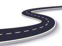 Windende Weg op een Wit Geïsoleerde Achtergrond De plaats infographic malplaatje van de wegmanier Eps 10 vector illustratie