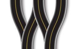 Windende Wegverbinding op een Wit Geïsoleerde Achtergrond Hoogste mening Weg infographic malplaatje Eps 10 royalty-vrije illustratie