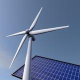 Windenergie en zonnepanelen Stock Afbeeldingen