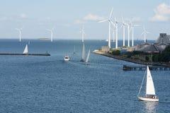 Windenergie Kopenhagen Denemarken Stock Foto