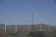 Windenergie in oostelijk Washington stock afbeelding