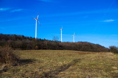Windenergiepark royalty-vrije stock afbeeldingen