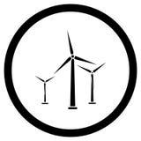 Windenergieschwarzikone lizenzfreie stockfotografie