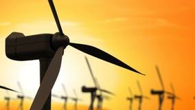 Windenergieturbinen sind eine der saubersten, auswechselbaren Quelle der elektrischen Energie lizenzfreie abbildung
