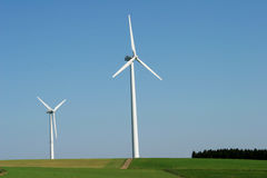 Windenergy 2. 2 modern wind energy plants in rural area Stock Photography