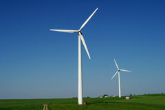 Windenergy 8. Two modern wind energy plants in rural area Royalty Free Stock Image