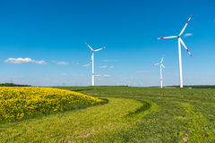 Windengines in the fields. Seen in rural Germany Royalty Free Stock Photos