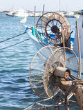 Winder fishing net. Particular of fisherman's boat Stock Image