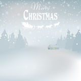 Winder snowy  landscape with trees, . Background. Winder snowy landscape with trees,  illustration. Background Stock Photos