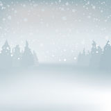 Winder snowy  landscape with trees, . Background Royalty Free Stock Images