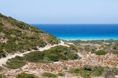 Winderige Egeïsche kust Stock Foto