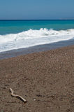 Winderige Egeïsche kust Stock Fotografie