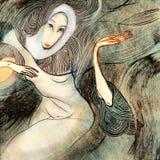 Winderige vrouw, die op papier trekken Stock Fotografie