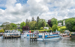 Windermere port with cruising boats Stock Photography