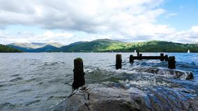 Windermere ribbon lake in Cumbria. England. Cloudy weather. Daytime. Video footage stock footage