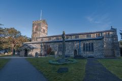 WINDERMERE, UK - 25TH MARCH 2019: St Martins Church in Bowness-on-windermere shot at early morning stock image