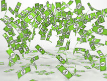 Windfall of comic style bank notes. Windfall of green comic style bank notes on white background Royalty Free Stock Photo