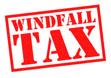 WINDFALL TAX. Red Rubber Stamp over a white background Stock Photo