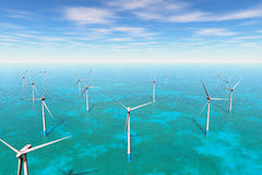 Windfarm в море 3D представляет Стоковое Изображение RF