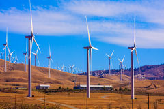Windfarm on a bright sunny day Royalty Free Stock Images