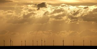 Windfarm costa afuera Fotos de archivo libres de regalías