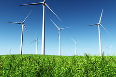 Windfarm in Field 3D render Stock Images