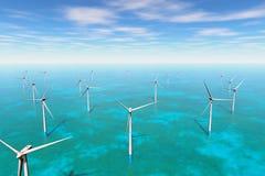 Windfarm i havet 3D framför Royaltyfri Bild