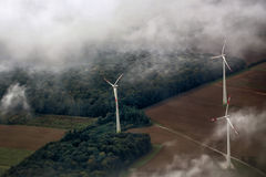 Windfarm landscape view from sky Royalty Free Stock Photo