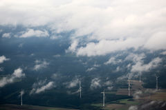 Windfarm landscape view from sky Royalty Free Stock Images
