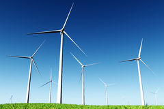 Windfarm in Meadow 3D render Stock Photography