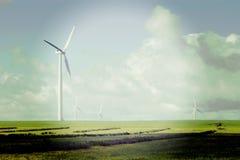 Windfarm med Instagram effekt Royaltyfria Bilder