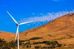 Windfarm na jaskrawym słonecznym dniu Zdjęcia Royalty Free
