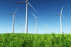 Windfarm no campo 3D rende Imagens de Stock