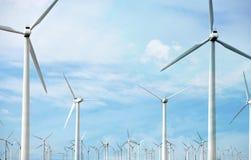 Windfarm och solsken Arkivbild
