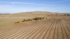 Windfarm op gebied 01 stock afbeelding