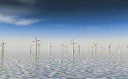 Windfarm op zee Royalty-vrije Stock Afbeeldingen
