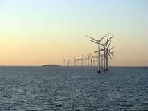 Windfarm a pouca distância do mar 1 Foto de Stock Royalty Free
