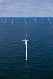 Windfarm a pouca distância do mar Imagem de Stock Royalty Free