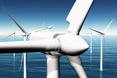 Windfarm in the sea 3D render 05 Royalty Free Stock Photography