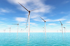 Windfarm in the sea 3D render Stock Photos