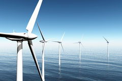 Windfarm in the sea 3D render Stock Images