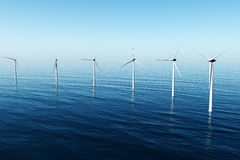 Windfarm in the sea 3D render Royalty Free Stock Photo