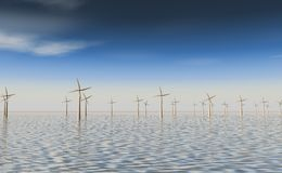 Windfarm at sea Royalty Free Stock Images
