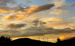 Windfarm silhouette, Scotland Royalty Free Stock Photography