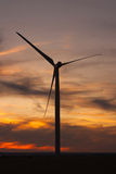 Windfarm at sunset and sky with dust from volcano Stock Photography