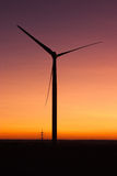 Windfarm at sunset and sky with dust from volcano Stock Image