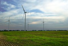 Windfarm sur la zone verte Photos stock