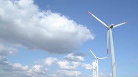 Windgenerator park with timelapse effect stock video footage